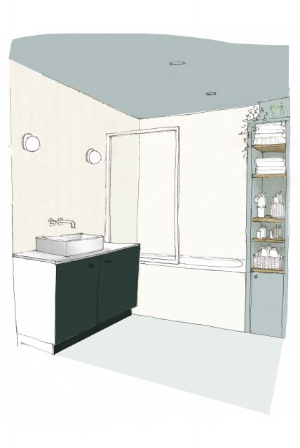 Dessin 3D de pré-visualisation de la salle de bain bleu gris et crème du projet d'architecture intérieure Paris 16