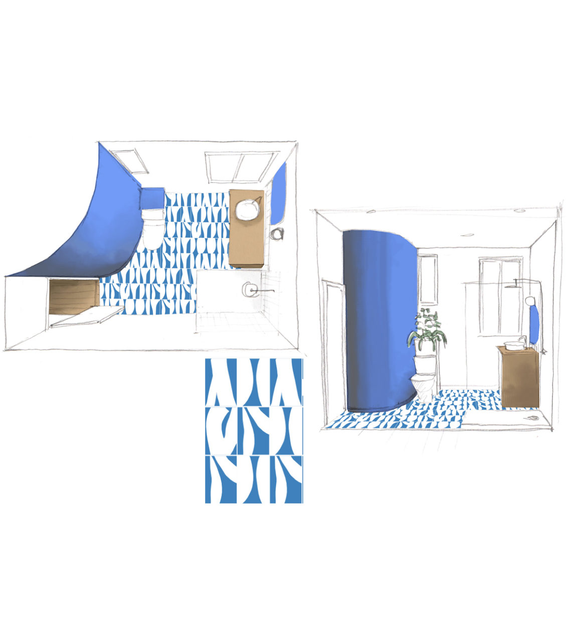 Dessin 3D couleur de pré-visualisation de la salle de bain du projet de la rue du Mont Cenis Paris 18 afin d'aider le client dans le choix du calpinage des carreaux de ciment Popham Design.