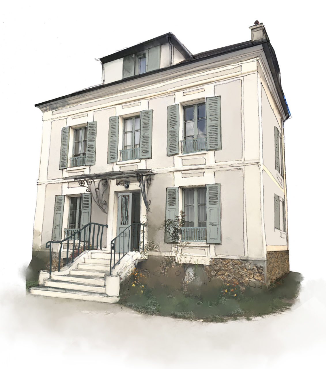 Vue en 3D couleur de la façade de la maison du Vésinet afin d'accompagner le client dans le choix des teintes huisseries, volets, marquise et teintes de la façade.