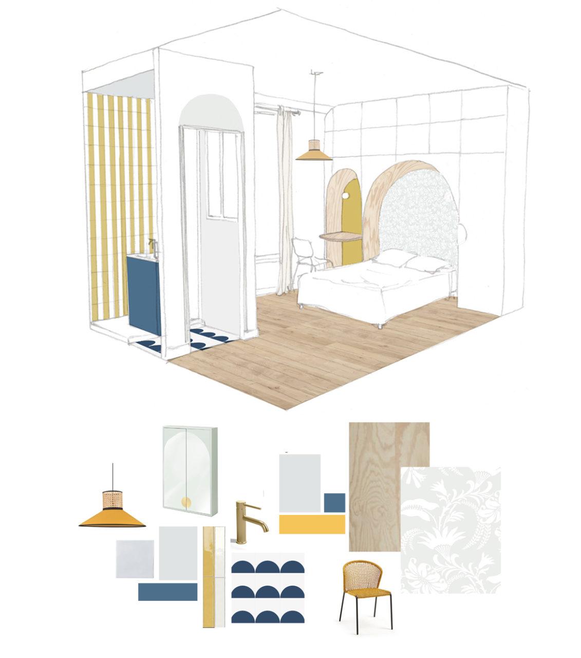 Vue en 3D d'une des chambres et sa salle de bain du projet en cours de co-living à Villejuif avec ses alcôves courbes pour le lit et le bureau ainsi que les propositions matériaux et mobiliers.
