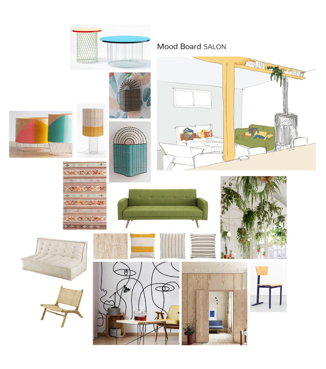 Mood Board et mobiliers du projet en cours de co-living Villejuif, ses teintes gaies et vives sur fond de parois bois et la pré-visualisation de l'espace salon.