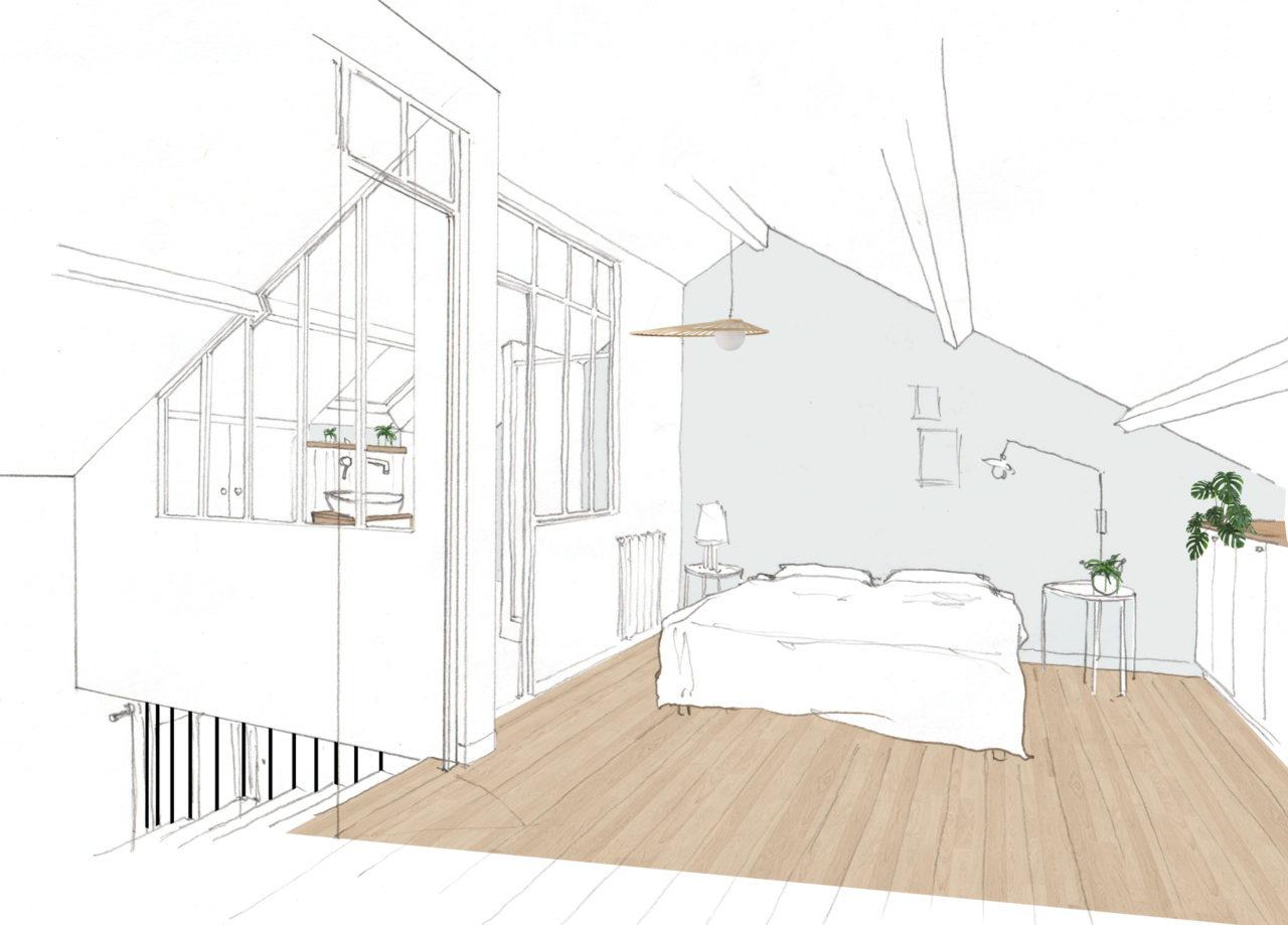 Dessin 3D de pré-visualisation de la chambre d'amis sous combles et la création de sa salle de bain attenante fermée par une cloison verrière permettant à la lumière de cheminer vers l'escalier et la chambre pour le projet Champigny-sur-Marne.