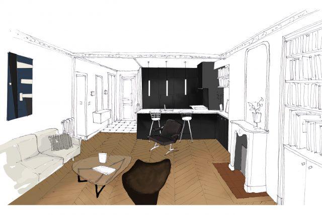 Dessin 3D de pré-visualisation de la cuisine ouverte noire et blanche sur le salon pour le projet de la rue des Martyrs Paris 9ème.