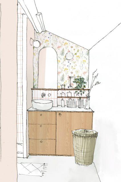 Dessin 3D de pré-visualisation de la salle de bain rose, blanche et chêne clair dynamisée par l'ajout d'un papier peint fleuri gai en crédence pour le projet d'architecture intérieure Ribera Paris 16